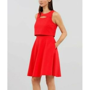 Rachel Roy Orange Double Layer Fit & Flare Dress